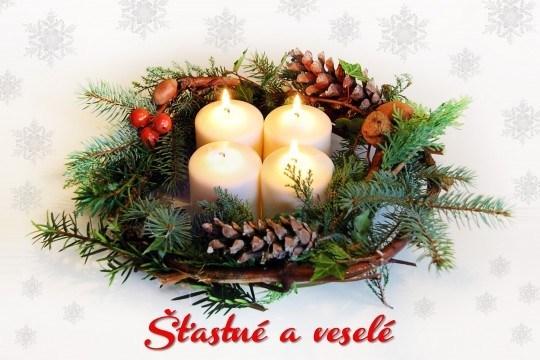 Pohľadnica advent veniec zima Vianoce 02  -