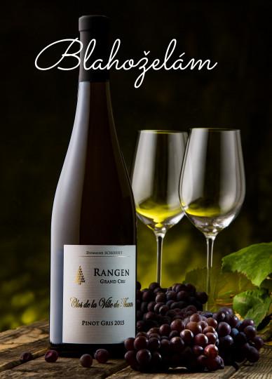 Pohľadnica blahozelanie vino  -