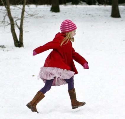 Pohlednice dievcatko sniezik  -