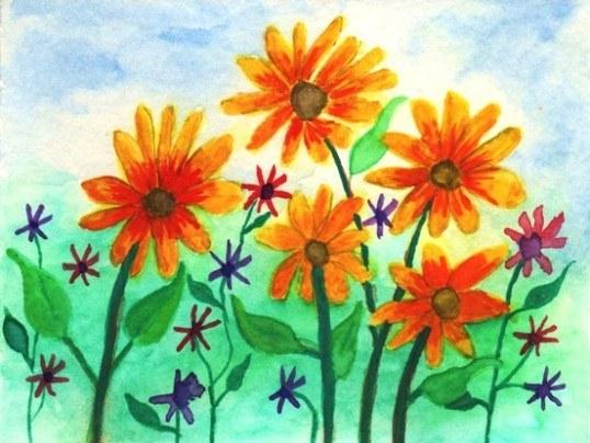Pohľadnica farby kvety  -