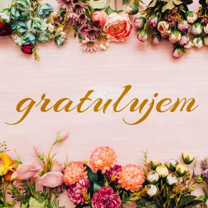 Pohľadnica gratulacia kvety  - k meninám, príležitosti
