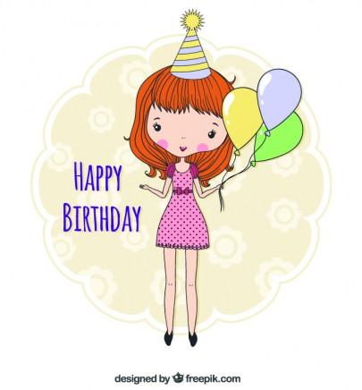 Pohľadnica gratuľujem všetko najlepšie k narodeninám happy birthday girl  -