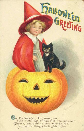 Pohľadnica halloween jesen vintage retro  -