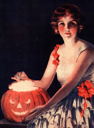Pohľadnica halloween jesen vintage retro tekvicka  -