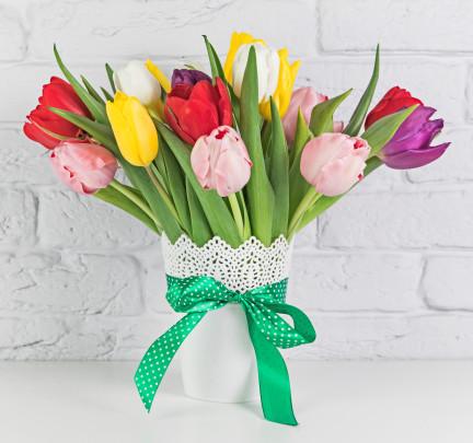 Pohľadnica pestrofarebne tulipany  -