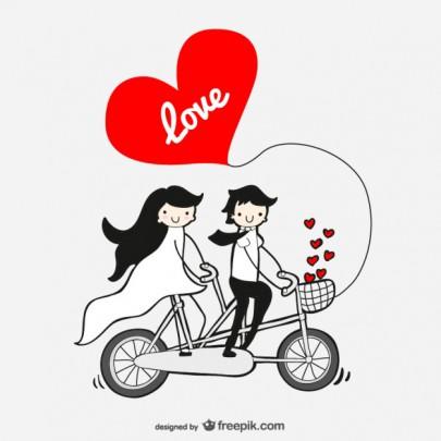Pohľadnica svadba láska cyklotandem  -