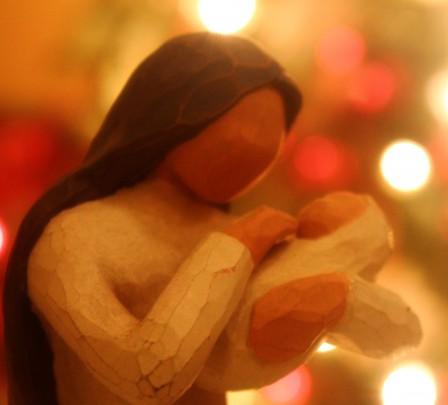 Pohľadnica Vianoce madona s dietatom  -