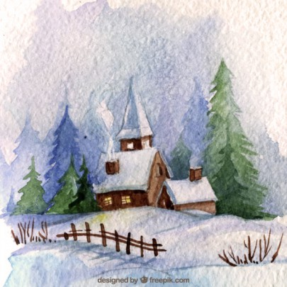 Pohľadnica Vianoce sneh kostolik  -
