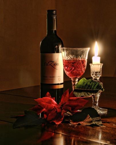 Pohľadnica vino sviecka vecer  -