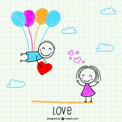Pohľadnica z lásky balony  -