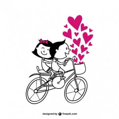 Pohľadnica z lásky romantika bicykel  -