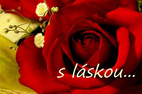 Pohľadnica z lásky myslim na teba láska ruza   -