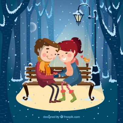 Pohľadnica zimna láska  -
