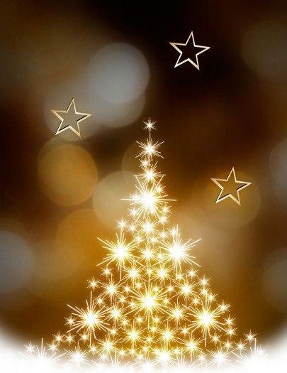 Pohľadnica zlaty vianocny stromcek Vianoce  -